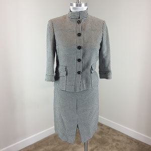 Carlisle Xs 0 Black White Houndstooth Skirt Suit